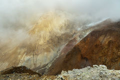 Stream from melting of glaciers on the active volcano Mutnovsky. Stock Photo