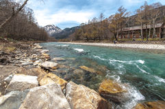 Stream mountain at Kamikochi. Stream with forest in both sides in the centre at Kamikochi Stock Image