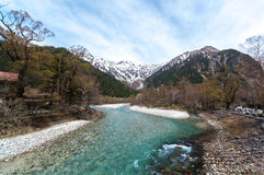 Stream mountain at Kamikochi. Stream with forest in both sides in the centre at Kamikochi Stock Photography