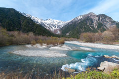 Stream mountain at Kamikochi. Stream with forest in both sides in the centre at Kamikochi Royalty Free Stock Image