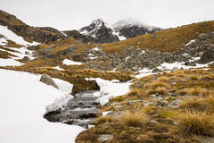 Stream and mountain landscape Royalty Free Stock Images