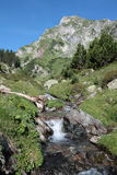 Stream and mountain in Pyrenees Royalty Free Stock Photo