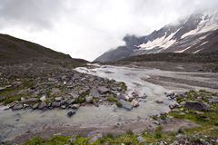 Stream of mountain river. Caucasus valley. Royalty Free Stock Photography