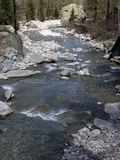 Stream in the mountains. A mountain stream flowing with water stock images