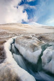 Stream in the mountains Elbrus. Stream in the Caucasus mountains on the glacier at Elbrus stock photography