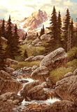 Stream in Mountains. Image from an original painting by Larry Jacobsen. / AF-009 royalty free illustration