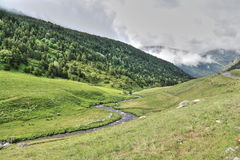 Stream and mowed meadow in Andorra Royalty Free Stock Photography