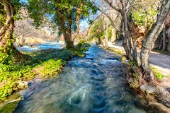 Stream in National park Krka. One of many streams in National park Krka that goes next to path. This one is running from waterfall Roški Roški slap to others Royalty Free Stock Images