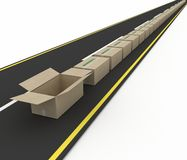 Stream Of Cardboard Boxes On Road Royalty Free Stock Photo