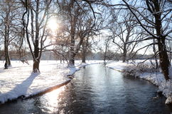 Stream in park. In the snow winter Stock Images