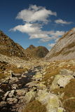 Stream and peaks in Aran Valley, Pyrenees Stock Photo