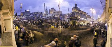 Stream of people on Maidan Stock Photo