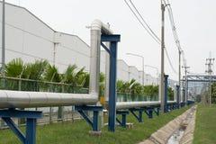 Stream pipelines on pipe-bridge. Industrial stream pipelines on pipe-bridge Royalty Free Stock Photography