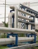 Stream pipelines on pipe-bridge. Industrial stream pipelines on pipe-bridge Royalty Free Stock Image