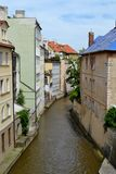 Stream in Prague. With houses Royalty Free Stock Image