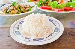 Stream rice on dish Stock Photography