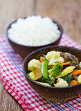 Stream rice with stir fried mixed vegetable Royalty Free Stock Image