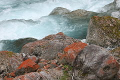 Stream and Rocks at Arthur's Pass National Park. South Island of New Zealand Stock Images