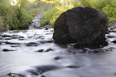 Stream with rocks. A long exposure view of a stream with rocks stock photos