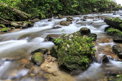 Stream. Rocks in stream with smooth flowing water Stock Photo