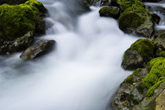 Stream and rocks. Water flowing over rocks in a small stream in the lover gorge. in Guizhou Province, China Stock Image