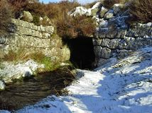 Stream Running to Tunnel in the Snow Royalty Free Stock Image
