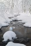 Stream snow. Stream with snow and ice under snow covered trees Stock Image