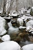 Stream and snow. Soft water of a stream on the snow Stock Photos