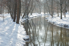 Stream and Snow Stock Photography