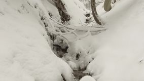 Stream through snow stock video footage