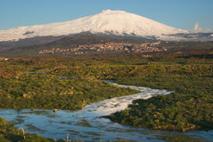 Stream And Snowcovered Mount Etna Royalty Free Stock Image