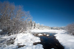 Stream in snowy field. Stock Photo