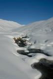 Stream in snowy landscape stock photo
