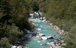 Stream of Soca river near Kobarid Julian Alps. In Slovenia Stock Images