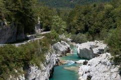 Stream of Soca river near Kobarid Julian Alps. In Slovenia Stock Photography