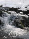 Stream: spring in the Carpathian mountains. Clean rapid water, ice and snow Royalty Free Stock Images