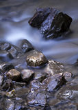 Stream and stones. Beautiful brook with stones in the night light Royalty Free Stock Photo