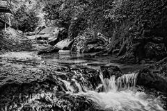 Stream between stones. Black and white photo of mountain stream between stones Royalty Free Stock Photo