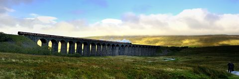 Stream Train. On Ribblehead Viaduct Stock Photo