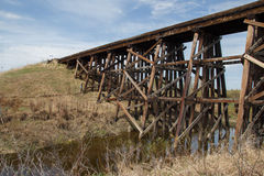 Stream under wooden trestle Stock Photos