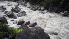 Stream of Urubamba River. Wild waters of Urubamba river in Peru after heavy tropical rains, steady footage with original sound stock video footage