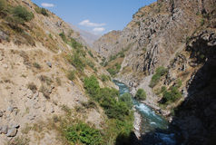 Stream in the valley of the Tien Shan. Mountain stream in the gorge of the Tien Shan. Uzbekistan royalty free stock images