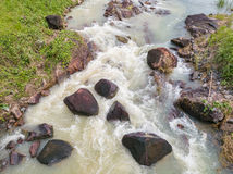 Stream of water. Flows down from the waterfall Royalty Free Stock Photography
