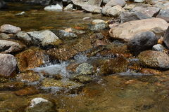 Stream Water Flows Over Rocks. A stream flows quickly over rocks Royalty Free Stock Photos