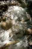 Stream of water in forest with stones. Close up Stock Image