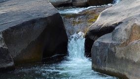 Stream water in mountain river pouring on large stones. Water stream from mountain waterfall quickly flowing in rocky. River. Fast flowing stream in mountain stock footage