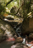 Stream of water between the rocks and boulders of the Gorge du Blavet Royalty Free Stock Photos