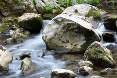 Stream water with rocks Royalty Free Stock Photo