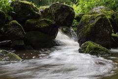 Stream of water. Water streaming through multiple rocks Stock Photography