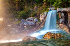 Thermal springs Loutra Thermopilon, Greece. Royalty Free Stock Images
